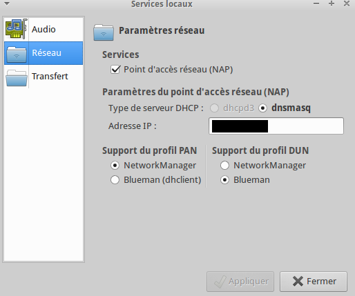 Bluetooth network parameters